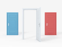 Opened Door Concept. White door opened, blue, red  doors closed on white Royalty Free Stock Photo