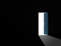 Opened Door in Dark Room Stock Photo