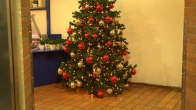 Opened the door of the elevator, and there is a Christmas tree. HD stock video footage