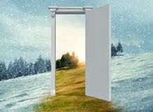 Opened door to another season royalty free illustration