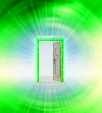 Opened door in green sky space wind vortex Stock Image