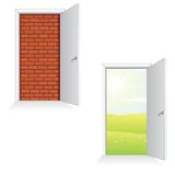 Opened Door Ideas. Isolated Vector Illustration Stock Image