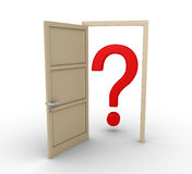 Opened door leads to question mark Stock Image