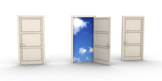 Opened door leads to the sky. Three doors but one is opened and the blue sky appears Royalty Free Stock Image