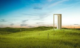 Opened door on beautiful field. 3d rendering. Opened door with light inside on beautiful field. 3d rendering Stock Images