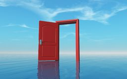 Opened door in the ocean Stock Photography