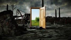 Opened door. A portal between nature and ecological catastrophe, apocalypse. 3d rendering.