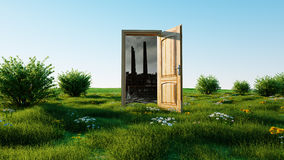 Opened door. A portal between nature and ecological catastrophe, apocalypse. 3d rendering. Royalty Free Stock Photography