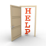 Opened door provides help Royalty Free Stock Image