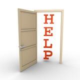 Opened door provides help. An opened door reveals a HELP word Royalty Free Stock Image
