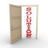 Opened door provides solution. An opened door reveals a SOLUTION word Stock Image