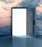 Opened door in sky heaven doorway Stock Images