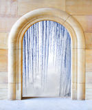 Opened door to arctic winter Stock Photography