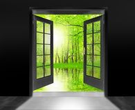 Opened door to beautiful sunrise. Royalty Free Stock Photography