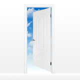 Opened door to blue sky. Opened door to bright blue sky with clouds royalty free stock photos