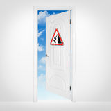 Opened door to blue sky Royalty Free Stock Photography