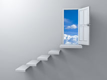 Opened door to blue sky and stair on empty white wall background with shadow Royalty Free Stock Images