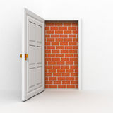 Opened door to nowhere, no way out concept. 3d Royalty Free Stock Photos