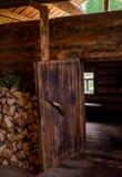 Opened door to sauna Royalty Free Stock Photos