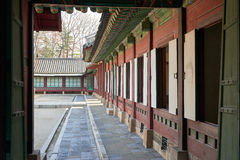 Opened doors of a building in Changdeokgung. Stock Photo