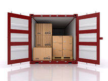 Opened doors ship container Stock Image