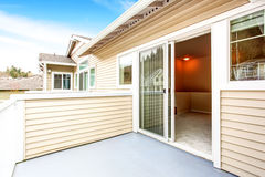 Opened doors to walkout deck at the backyard. Northwest, USA stock photos