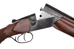Opened double-barrelled hunting gun close-up isolated on white Royalty Free Stock Photos