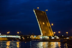 Opened drawbridge in St. Petersburg Royalty Free Stock Photos