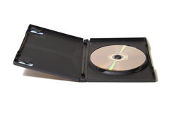 Opened DVD Case. Isolated image of an opened DVD case and disk revealed inside royalty free stock image