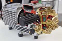 Opened electric motor. The electric motor at the exhibition stock image