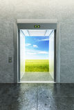 Opened elevator to new life Stock Photo