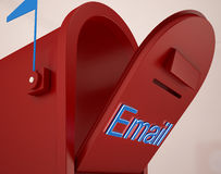 Opened Email Box Shows Outgoing Mails. And Communications Stock Photos