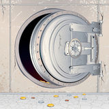 Opened Empty Bank Storage. Opened Bank Vault Door with an empty Depository. Conceptual 3D vector Illustration for Financial Crisis theme Stock Image
