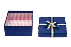 Opened empty blue gift box with a bow Royalty Free Stock Image
