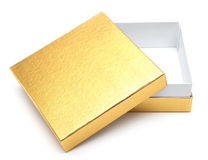 Opened empty gold gift box Stock Photo