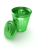 Opened and empty green trash bin over a white Stock Photo
