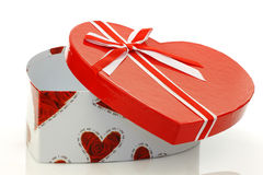 Opened empty  heart shaped gift box with a ribbon Royalty Free Stock Image