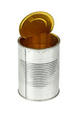 Opened empty tin can Stock Photo