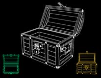 Opened empty wooden chest. Vector outline illustration. Different viewes stock illustration