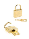 Opened en closed padlocks and keys isolated, focus in the front Royalty Free Stock Photo