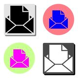 Opened envelope with letter. flat vector icon stock illustration
