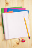 Opened exercise books Royalty Free Stock Photography