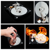 Opened external hard drive on fire. Hard disk Royalty Free Stock Image