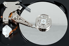 Opened external hard drive. Selective focus. Stock Photo