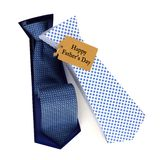 Opened Fathers Day tie shaped gift box over white Royalty Free Stock Images