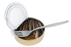 Opened fish can with fork Stock Photos