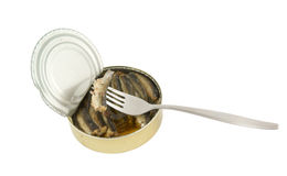 Opened fish can with fork isolated Royalty Free Stock Photos