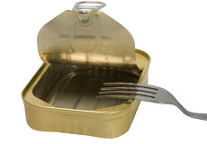 Food tin can and silver fork Stock Photos