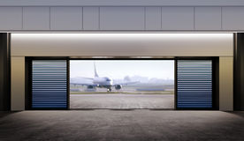 Opened gate in airport Royalty Free Stock Photo