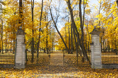 Opened gate in autumn Royalty Free Stock Photography
